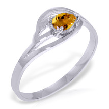 Brand New 0.3 CTW 14K Solid White Gold Fair Lady Citrine Ring - $215.18