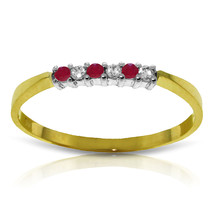 Brand New 0.11 CT 14K Solid Gold Ruby Natural Diamond Ring - $189.95
