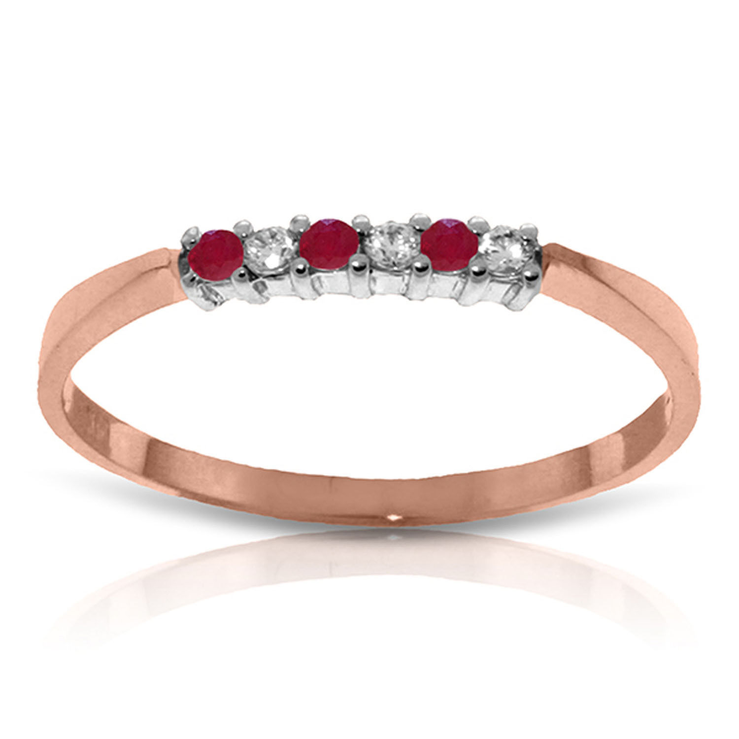 Brand New 0.11 CTW 14K Solid Rose Gold Band Ruby Natural Diamond Ring
