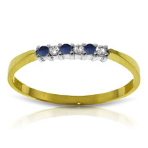 Brand New 0.11 CTW 14K Solid Gold Sapphire Natural Diamond Ring - $189.95