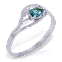 Brand New 0.3 Carat 14K Solid White Gold Dance Together Blue Topaz Ring - $215.18