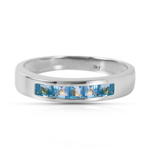 Brand New 0.6 CTW 14K Solid White Gold Looking Glass Blue Topaz Ring - $326.07