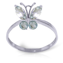 Brand New 0.6 CTW 14K Solid White Gold Butterfly Ring Natural Aquamarine - $216.75