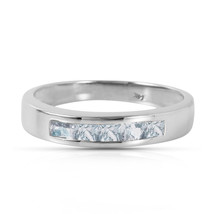 Brand New 0.5 CTW 14K Solid White Gold Look Into It Aquamarine Ring - $331.97