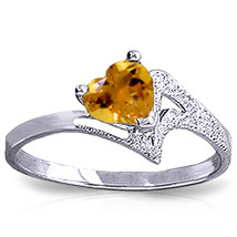 Brand New 0.95 CTW 14K Solid White Gold Show My Support Citrine Ring - $254.17