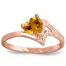 Brand New 0.95 Carat 14K Solid Rose Gold Loveheart Citrine Ring - $257.17