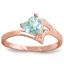 Brand New 0.95 Carat 14K Solid Rose Gold Ring Natural Aquamarine - £199.11 GBP