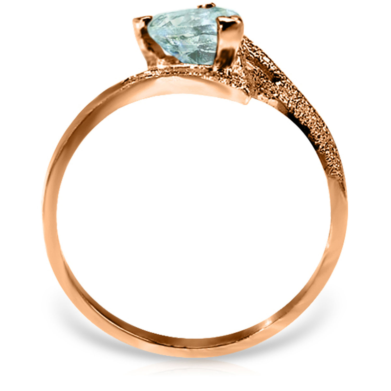Brand New 0.95 Carat 14K Solid Rose Gold Ring Natural Aquamarine
