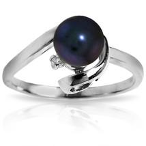 Brand New 1.01 CT 14K   White Gold Ring Natural Diamond Black pearl - $268.56