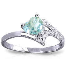 Brand New 0.95 Carat 14K Solid White Gold White Dove Aquamarine Ring - $273.14