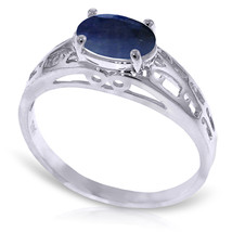 Brand New 1.15 CTW 14K Solid White Gold Filigree Ring Natural Sapphire - $253.39