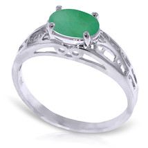 Brand New 1.15 Carat 14K Solid White Gold Filigree Ring Natural Emerald - $273.88
