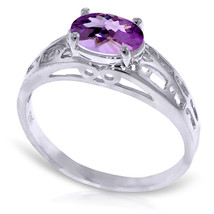 Brand New 1.15 ct 14K   White Gold Filigree Ring Natural Purple Amethyst - £171.23 GBP