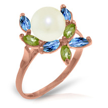 Brand New 14K   Rose Gold Ring with Natural Peridots, Blue Topaz & pearl - $205.40