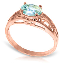 Brand New 14K Solid Rose Gold Filigree Ring with Natural Aquamarine - $252.26