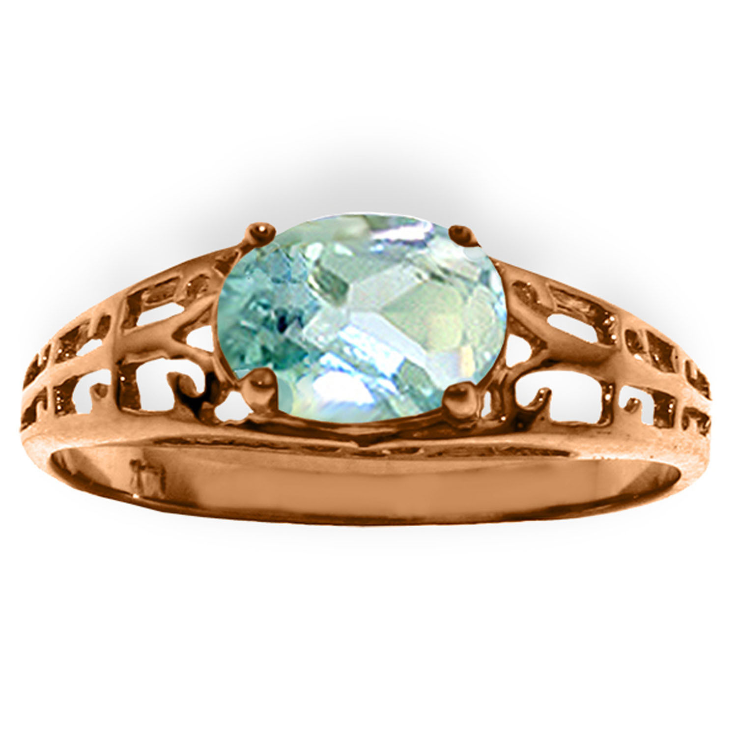Brand New 14K Solid Rose Gold Filigree Ring with Natural Aquamarine