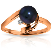 Brand New 14K Solid Rose Gold Ring w/ Natural Diamond & Black pearl - $271.56