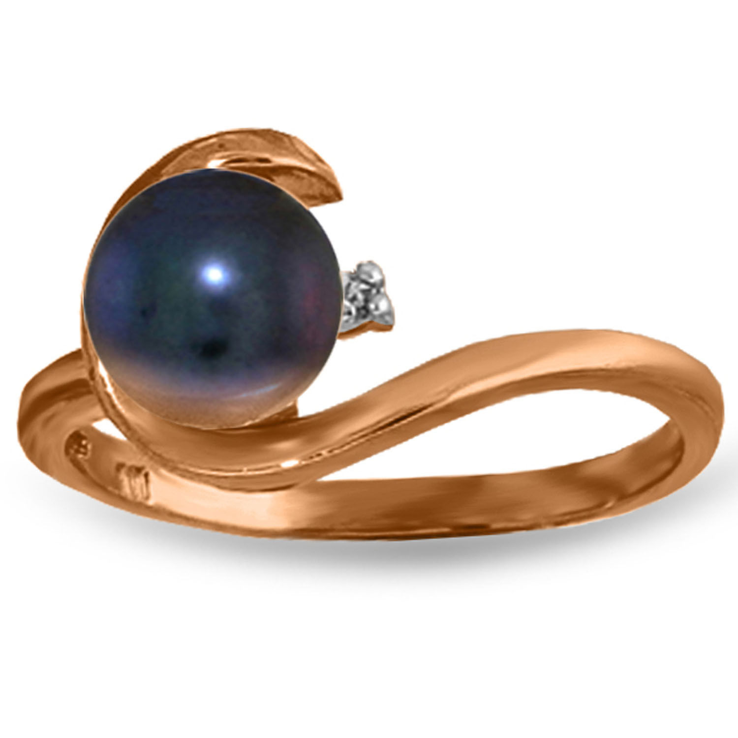 Brand New 14K Solid Rose Gold Ring w/ Natural Diamond & Black pearl