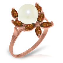 Brand New 14K Solid Rose Gold Ring with Natural Garnets & pearl - $205.55