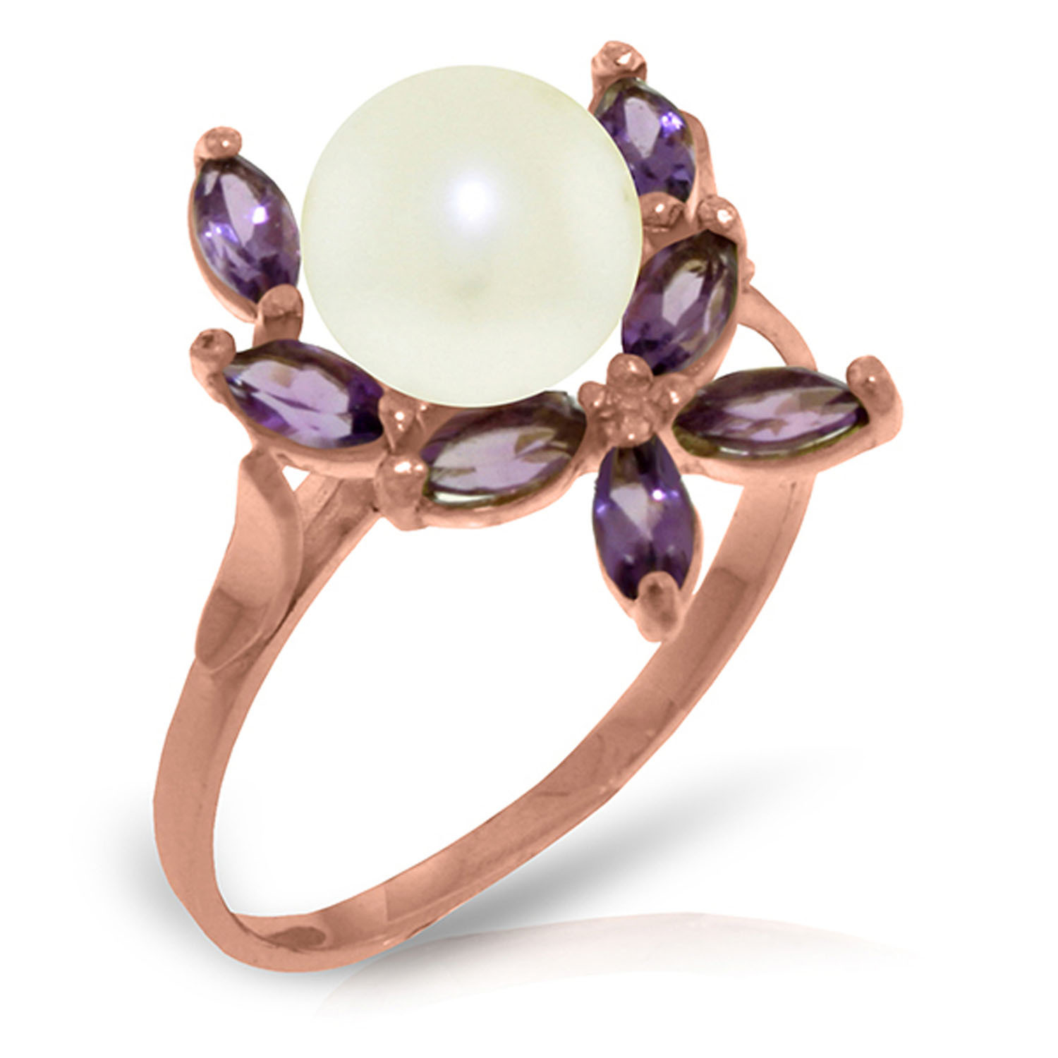 Brand New 14K Solid Rose Gold Ring with Natural Amethysts & pearl
