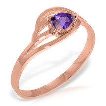Brand New 14K Solid Rose Gold Ring with Natural Purple Amethyst - £165.45 GBP