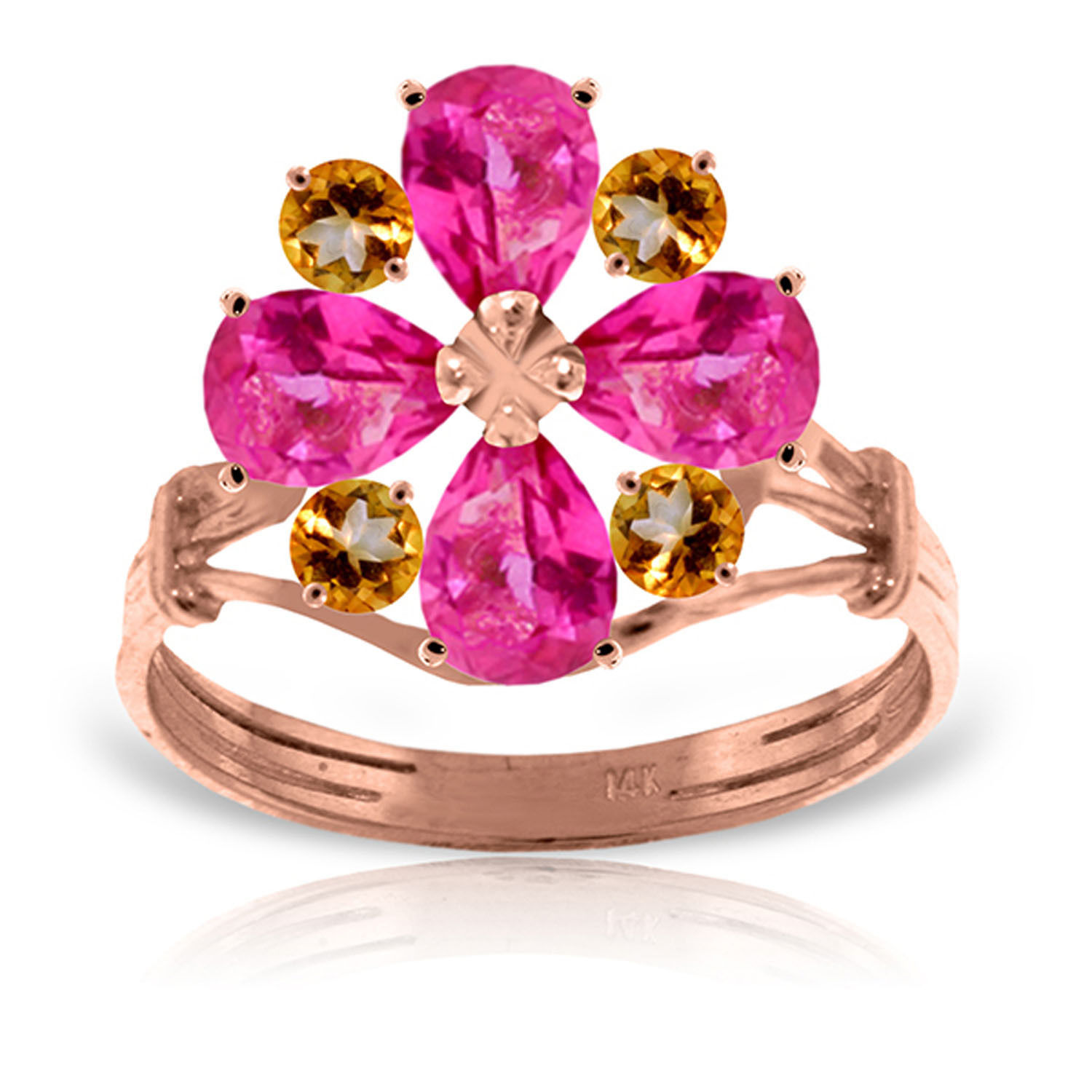 Brand New 14K Solid Rose Gold Ring with Natural Pink Topaz & Citrine