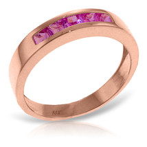 Brand New 14K Solid Rose Gold Rings with Natural Pink Sapphires - £271.19 GBP
