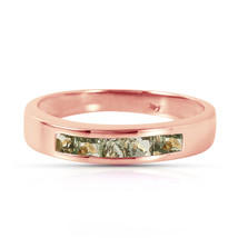 Brand New 14K Solid Rose Gold Rings with Natural Green Sapphires - £264.50 GBP