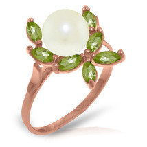 Brand New 14K Solid Rose Gold Ring with Natural Peridots & pearl - $205.55