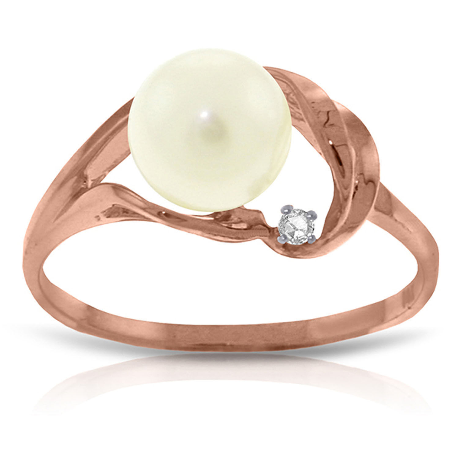 Brand New 14K Solid Rose Gold Ring w/ Natural Diamond & pearl