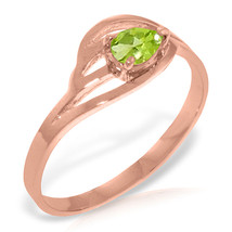 Brand New 14K Solid Rose Gold Ring with Natural Peridot - £165.45 GBP