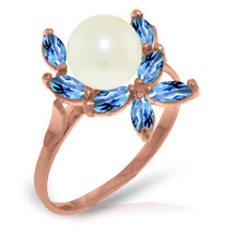 Brand New 14K Solid Rose Gold Ring with Natural Blue Topaz & pearl - £153.77 GBP