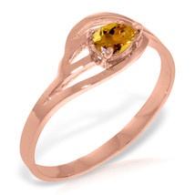 Brand New 14K Solid Rose Gold Ring with Natural Citrine - £165.45 GBP