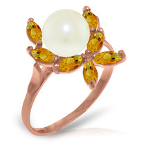 Brand New 14K Solid Rose Gold Ring with Natural Citrines & pearl - £153.77 GBP