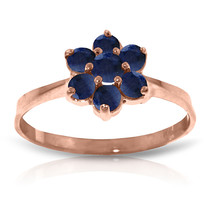 Brand New 14K Solid Rose Gold Ring with Natural Sapphires - £171.33 GBP