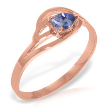 Brand New 14K Solid Rose Gold Ring with Natural Tanzanite - £178.38 GBP