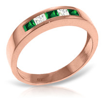 Brand New 14K Solid Rose Gold Rings with Natural Emeralds & Rose Topaz - £264.17 GBP