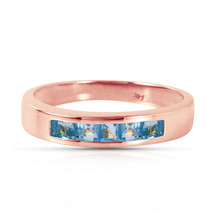 Brand New 14K Solid Rose Gold Rings with Natural Blue Topaz - £249.55 GBP