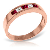 Brand New 14K Solid Rose Gold Rings with Natural Ruby & Rose Topaz - £264.17 GBP