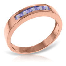 Brand New 14K Solid Rose Gold Rings with Natural Tanzanites - £267.75 GBP