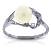 Brand New 2.02 CT 14K Solid White Gold Pearl Natural Diamond Ring - $192.83