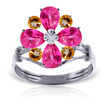 Brand New 2.43 CTW 14K Solid White Gold Ring Natural Pink Topaz Citrine - $343.28