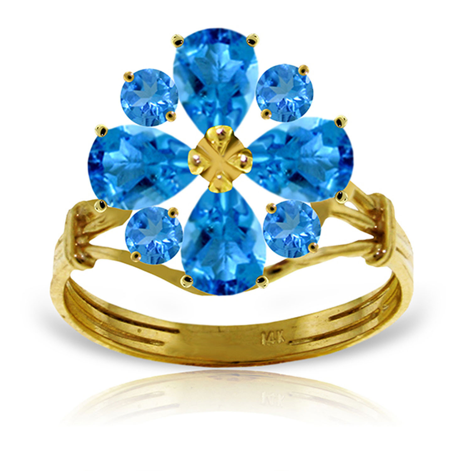 Brand New 2.43 Carat 14K Solid Gold Love Theme Blue Topaz Ring