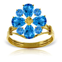 Brand New 2.43 Carat 14K Solid Gold Love Theme Blue Topaz Ring - $335.02