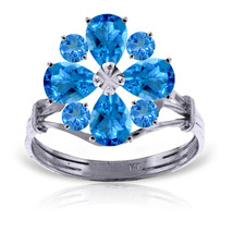 Brand New 2.43 Carat 14K Solid White Gold All The Time Blue Topaz Ring - $340.02