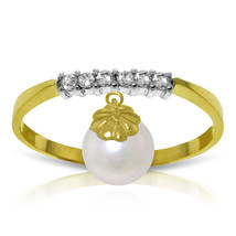 Brand New 2.1 CT 14K Solid Gold Ring Natural Diamond Dangling pearl - $232.78