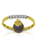 Brand New 2.1 CT 14K   Gold Ring Natural Diamond Dangling Black pearl - $232.78