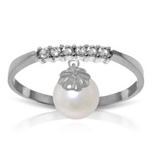 Brand New 2.1 CTW 14K   White Gold Ring Natural Diamond Dangling pearl - $237.78