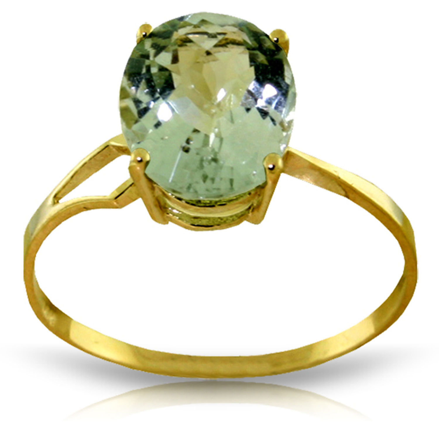 Brand New 2.2 Carat 14K Solid Gold Ring Checkerboard Cut Green Amethyst