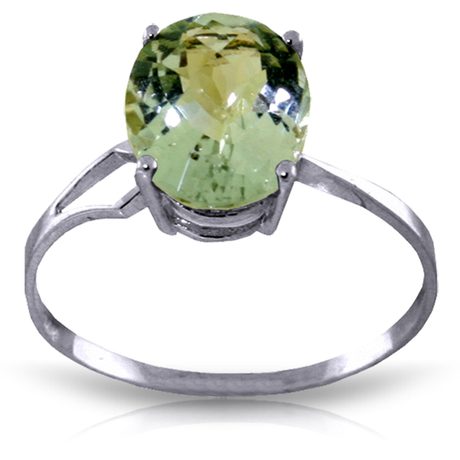 Brand New 2.2 CTW 14K   White Gold Ring Checkerboard Cut Green Amethyst